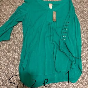 Green 3/4 sleeve shirt